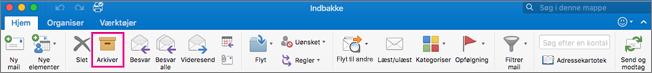 Outlook-båndet med knappen Arkiv fremhævet