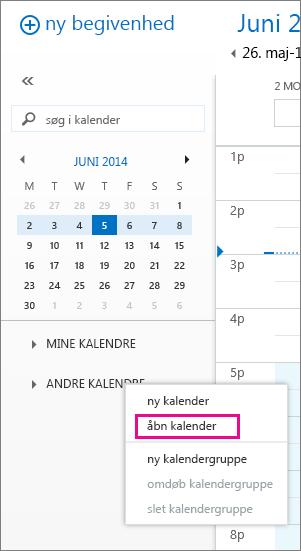 Skærmbillede, der viser, hvordan man kan åbne en anden kalender i Outlook Web App