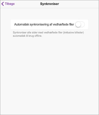 Deaktiver automatisk synkronisering i OneNote-indstillinger til iPad.