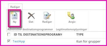 Skærmbillede af siden i SharePoint Online – Administrationscenter til konfiguration af et SecureStore-destinationsprogram.