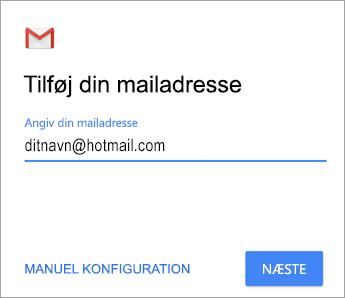 Tilføj din mailadresse