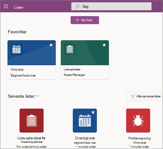 Skærmbillede af startsiden for Microsoft-lister