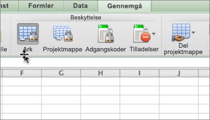 Når en arket er beskyttet, vises ark-ikonet aktiveret