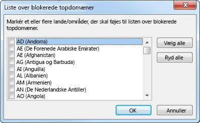 Dialogboksen Liste over blokerede topdomæner