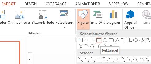 Du kan vælge en figur, f.eks. en rektangel, i sektionen Figurer i gruppen Illustrationer.