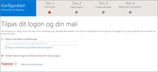 Vælg enten tilføje et domæne, eller bruge den, du har brugt på siden Tilpas din logonadresse og mail.