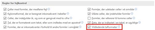 Gå til filen > indstillinger > formler > regler for fejlkontrol til at slå indstillingen Misleading tal formater.