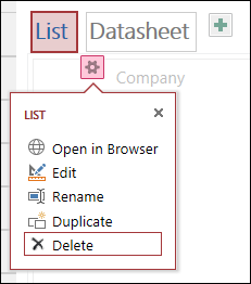 Menuen Indstillinger, der viser Åbn i browser, Rediger, Omdøb, Dupliker og Slet