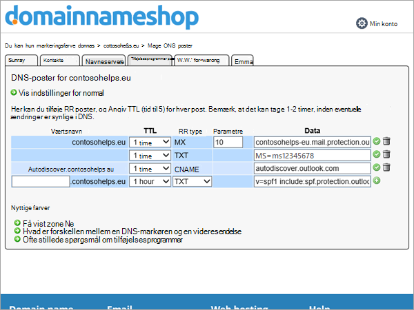 TXT-post i DNS-post i Domainnameshop