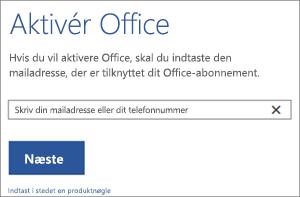 Viser dialogboksen Aktivér, hvor du kan logge på for at aktivere Office