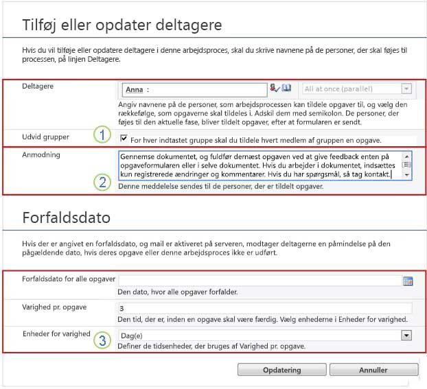 Ændringsformular for fremtidige opgaver