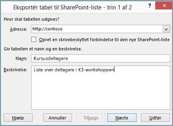 Guiden Eksportér til SharePoint