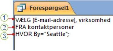 SQL-objektfane, der viser en SELECT-sætning