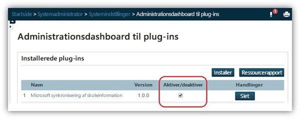 Sørg for, at plug-in'et er aktiveret på siden Dashboard til administration af plug-in.