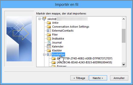 Når du importerer Google Gmail-kontaktpersoner i din Office 365-postkasse, skal du vælge Kontakter som destination