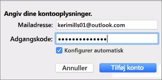Tilføje en mailkonto