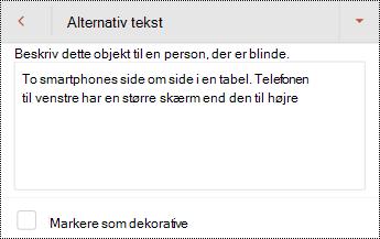 Dialogboksen alternativ tekst til et billede i PowerPoint til Android.