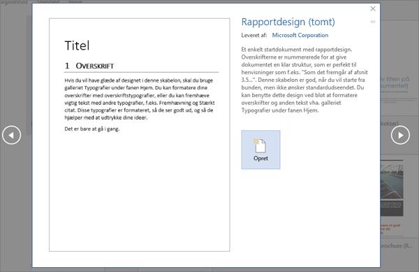 Viser et eksempel på en rapportdesignskabelon i Word 2016.