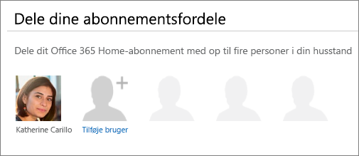 """Skærmbillede af sektionen """"Dele dine abonnementsfordele"""" på siden Del Office 365, der viser linket """"Tilføj bruger"""" ."""