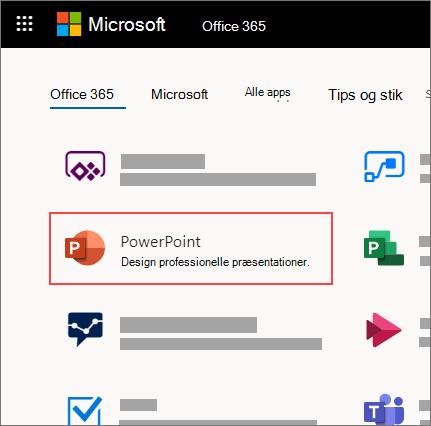 Office 365-hjemmesiden med PowerPoint-appen fremhævet