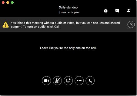 Skærmbillede af, hvordan du kan deltage i et møde uden lyd