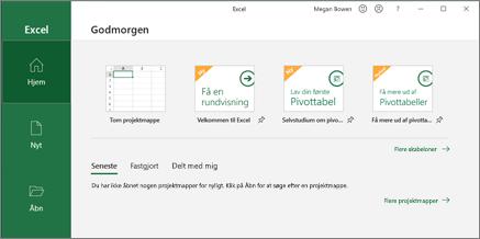 Opret en projektmappe i Excel