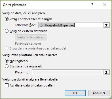 Excel Indsæt > Indstillinger for pivotdiagram