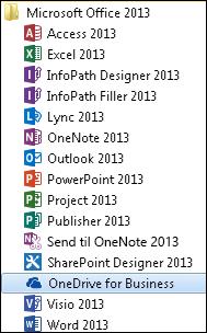 OneDrive for Business 2013 i Office 2013-programgruppen i Windows 7