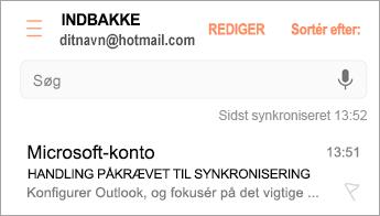 """Åbn den mail, hvor der står """"Handling påkrævet"""""""