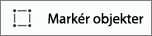 Viser knappen Markér objekter under fanen Tegn i Word til iPhone.