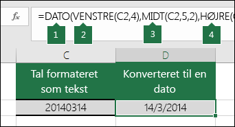 Konverter tekststrenge og tal til datoer