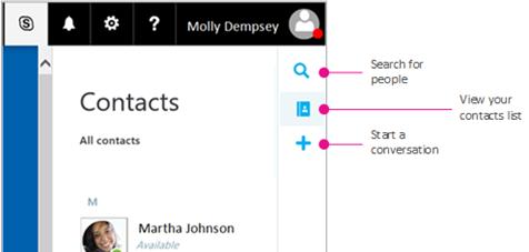 Margentekst, der viser tilgængelige indstillinger: søge efter personer, få vist din liste over kontakter og starte en samtale
