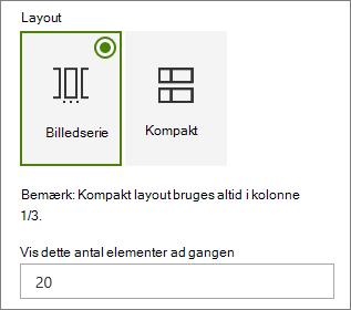 Layout af markering i begivenheder web egenskabsruden for webdel.