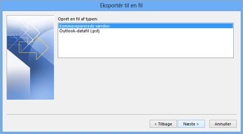 Guiden Eksportér i Outlook – vælge en CSV-fil