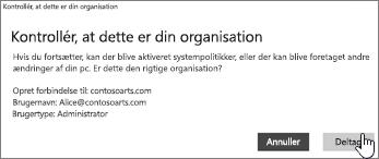 Klik på Deltag på skærmbilledet Kontrollér, at dette er din organisation.