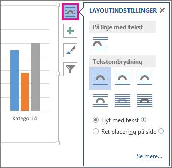 Billede af layoutindstillingerne for diagrammer i Word