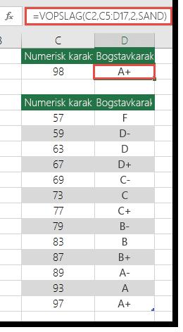 Formlen i celle D2 er =VLOOKUP(C2,C5:D17,2,TRUE)