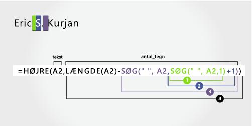 Den anden søgefunktion i en formel til adskillelse af fornavn, mellemnavn og efter navn