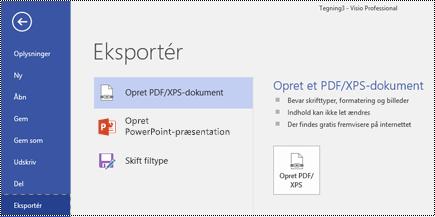 Eksportér til PDF-indstillingen på fanen Filer i Visio.