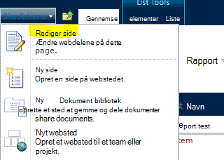 Kommandoen Rediger side i menuen Webstedshandlinger