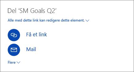 Skærmbillede, der viser, hvordan du deler en fil i OneDrive