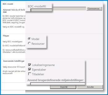 Skærmbillede af visningen BCS-modellen.