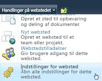 Webstedsmenuen Indstillinger for websted
