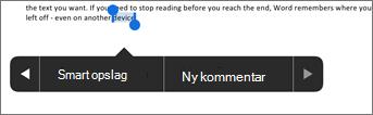 Tryk på Ny kommentar, når du har markeret tekst i Word
