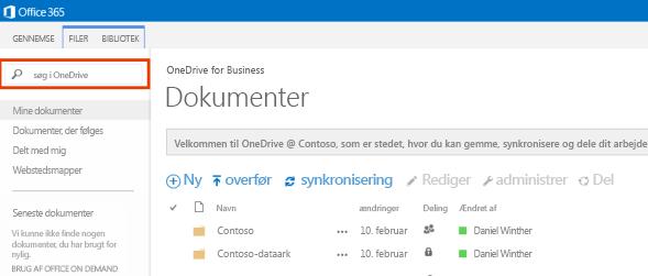 Skærmbillede af OneDrive-forespørgselsfeltet i Office 365.