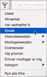 Brug Omtalt i menuen Filtrer mail til at søge efter mails, hvor du er @omtalt