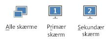 skærmbillede af fanen præsenter, der viser primær, sekundær og alle skærmen