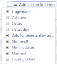 Office 365-rapporter – administrer kolonner til mailaktivitetsrapporter