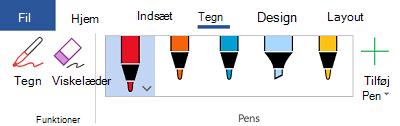 Håndskriftsværktøjer i Office 365