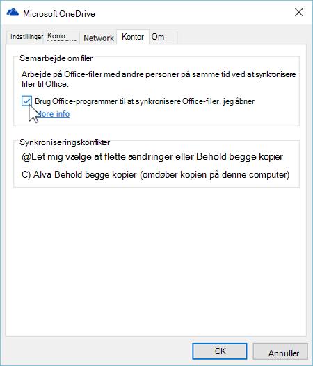 Skærmbillede af fanen Office i Indstillinger for OneDrive synkroniseringsklienten